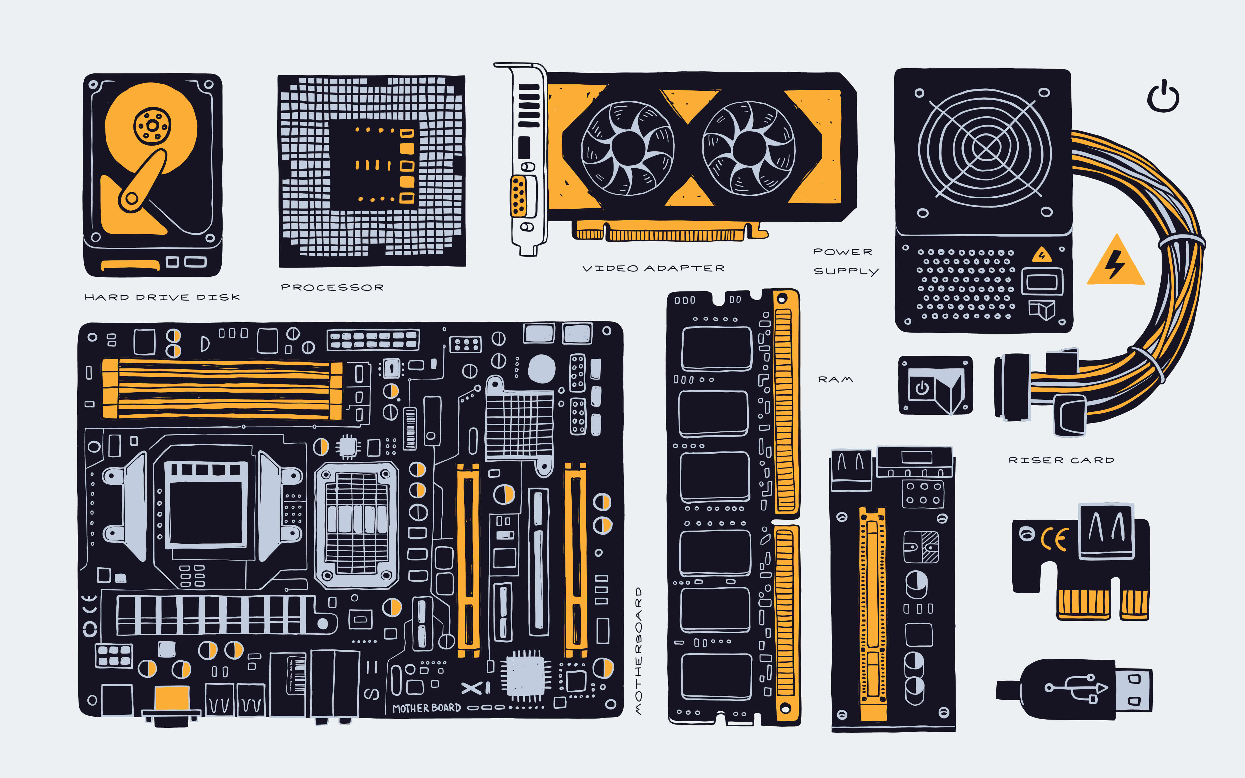 Collection of hardware components