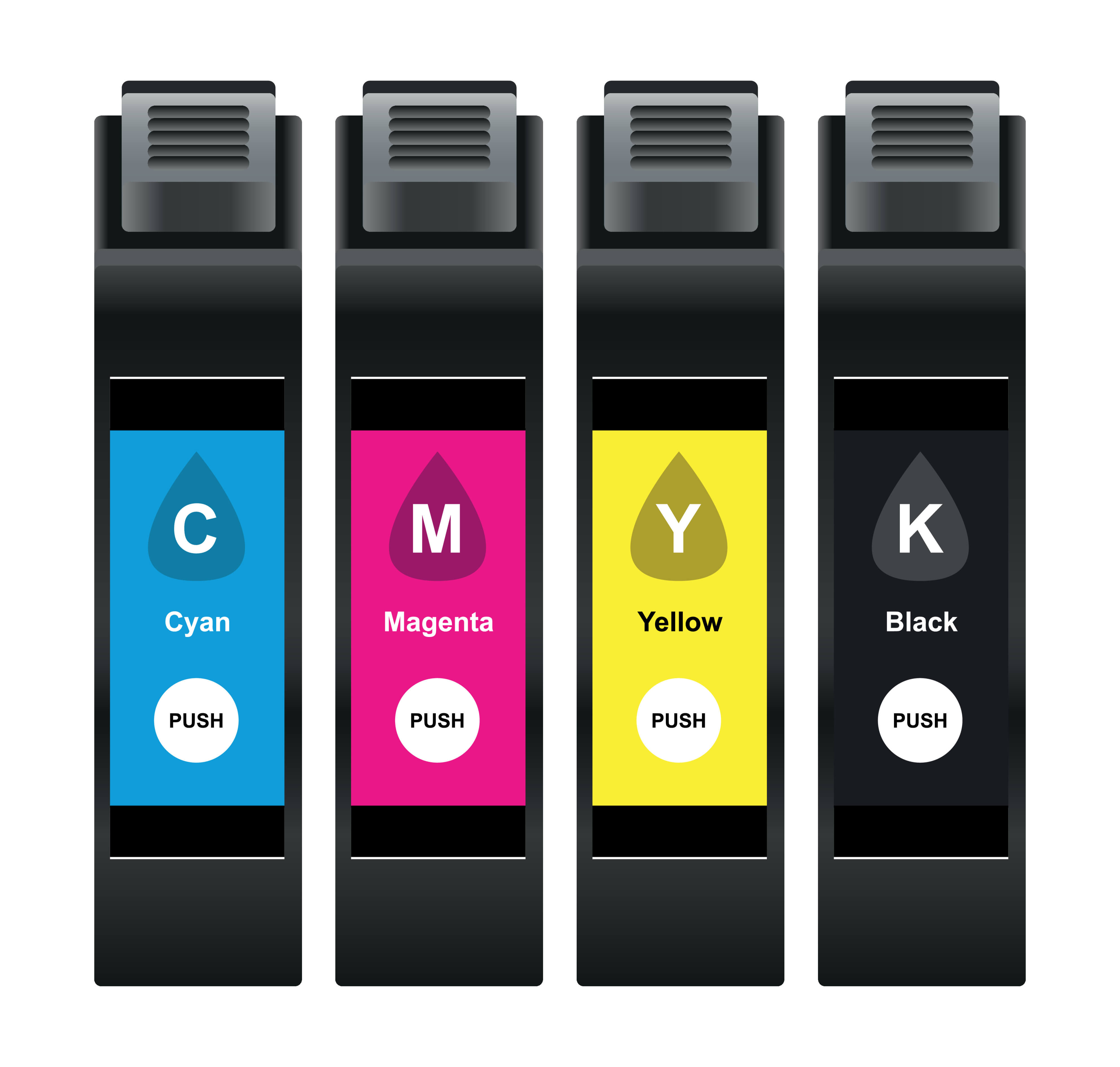 Printer cartridges Cyan Magenta Yellow Key